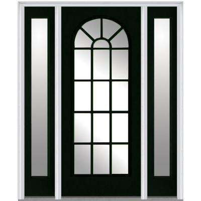 60 in. x 80 in. Classic Right-Hand Inswing Full Lite Round Top Clear Painted Steel Prehung Front Door with Sidelites