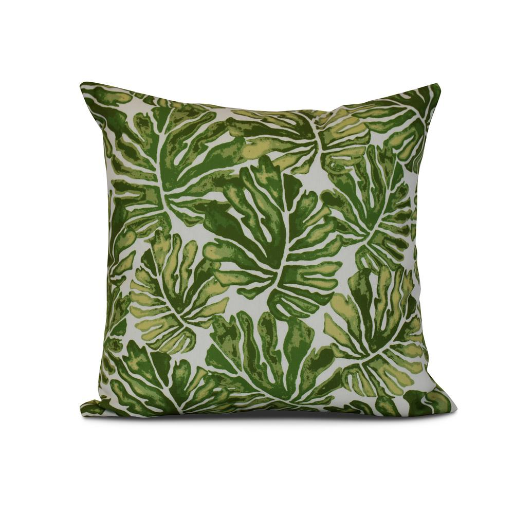 Green Palm Leaves Fl Print Pillow Pf812gr9 16 The Home Depot