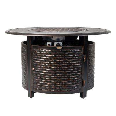 Baker 42 in. x 24 in. Round Aluminum Propane Fire Pit Table in Antique Bronze