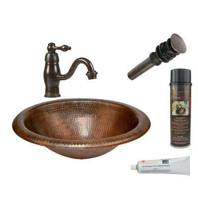 All-in-One Wide Rim Oval Self Rimming Hammered Copper Bathroom Sink in Oil Rubbed Bronze