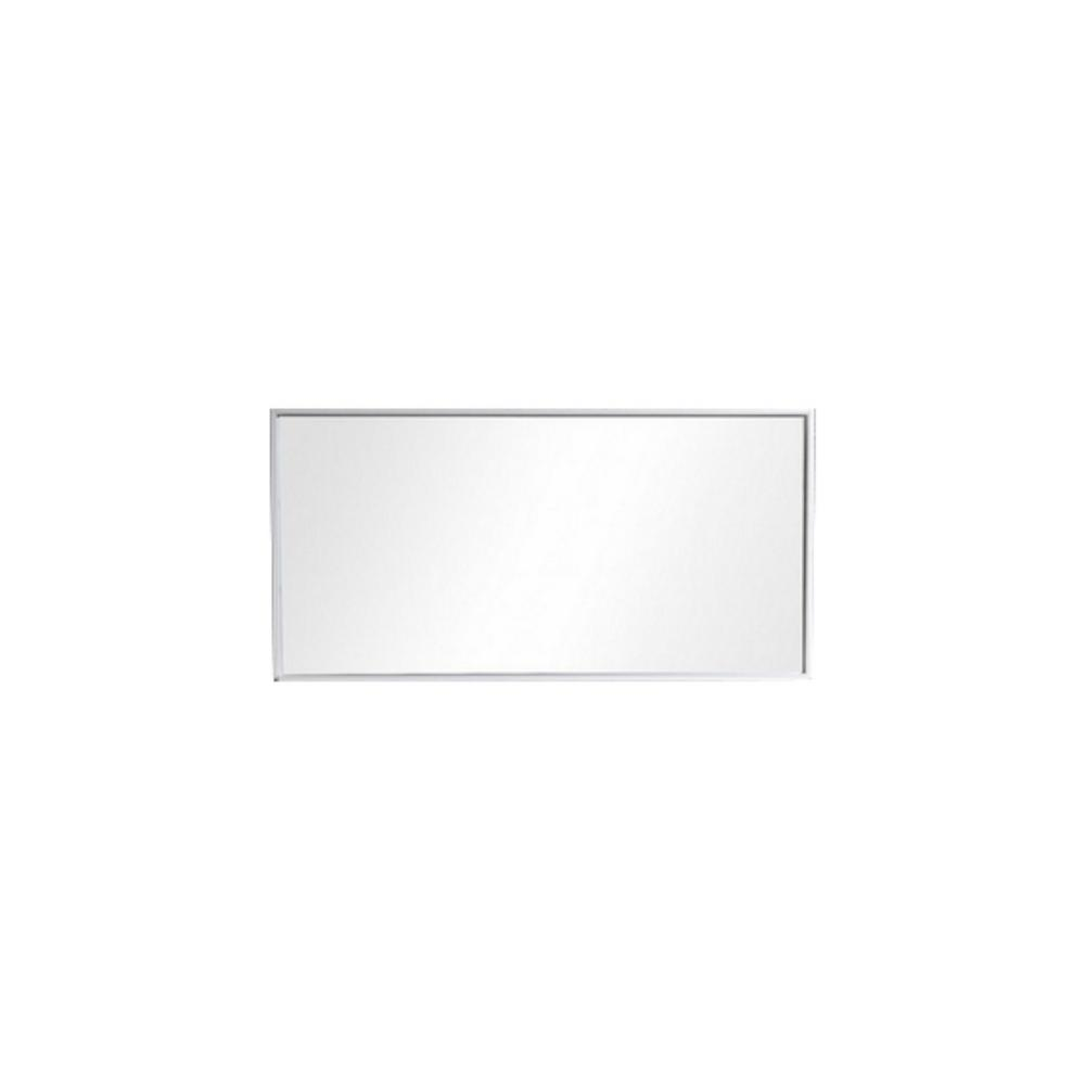 Moreno Bath Bliss 53.75 in. x 27.5 in. Framed Single Wall Mirror with Shelf in High Gloss White