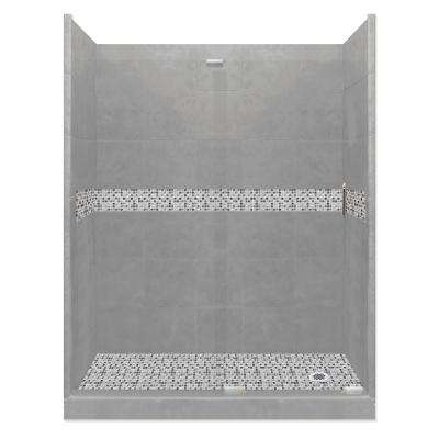 Del Mar Grand Slider 34 in. x 60 in. x 80 in. Right Drain Alcove Shower Kit in Wet Cement and Chrome Hardware