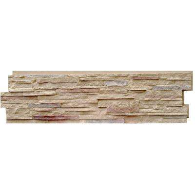 Stacked Stone Sandy Buff 13.25 in. x 46.5 in. Faux Stone Siding Panel (5-Pack)
