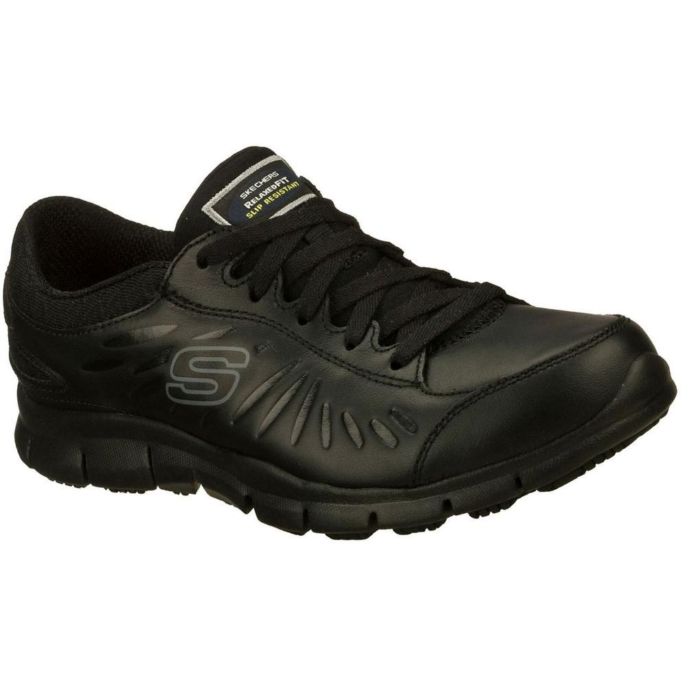 Skechers Eldred Women Size 10 Memory Foam Topped Cushion Black Leather Work Shoe