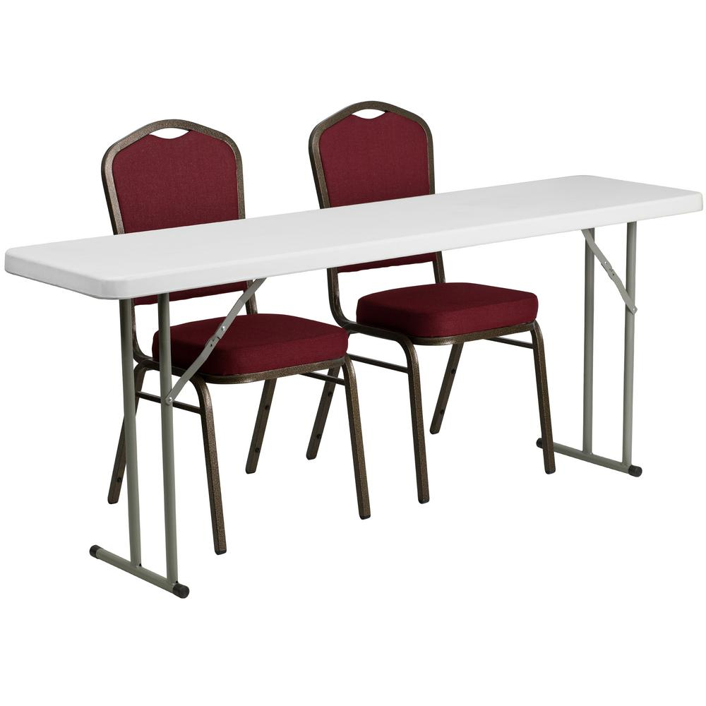 72 in. Burgundy Plastic Tabletop Fabric Seat Folding Table and Chair Set