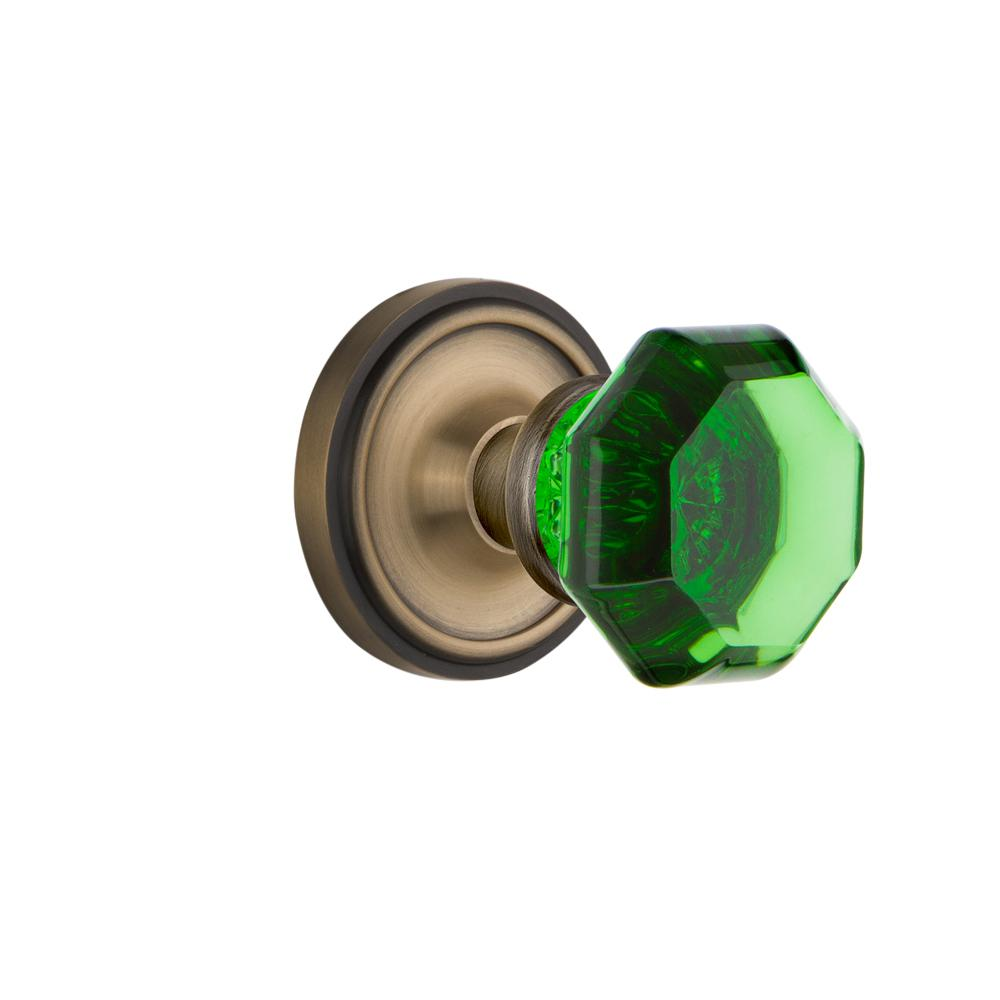 Classic Rosette Single Dummy Waldorf Emerald Door Knob in Antique Brass
