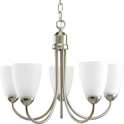 Gather Collection 20.5 in. 5-Light Brushed Nickel Dining Room Chandelier with Etched Glass