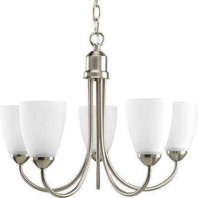 Gather 20.5 in. 5-Light Brushed Nickel Chandelier with Etched Glass