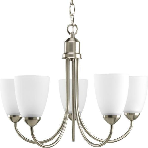 GatherCollection20.5 in. 5-Light Brushed NickelDining RoomChandelier with Etched Glass