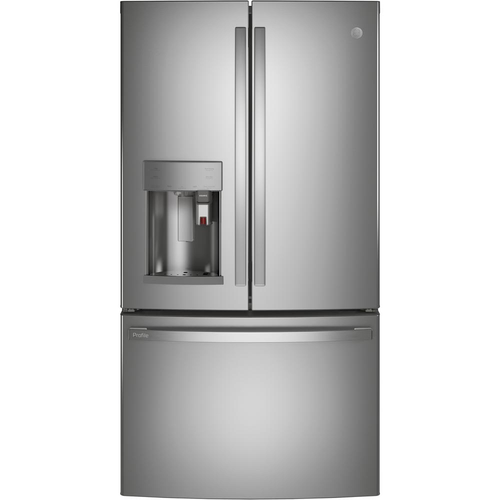 Profile 27.7 cu. ft. Smart French Door Refrigerator with Kuerig K-Cup in Fingerprint Resistant Stainless Steel PFE28PYNFS