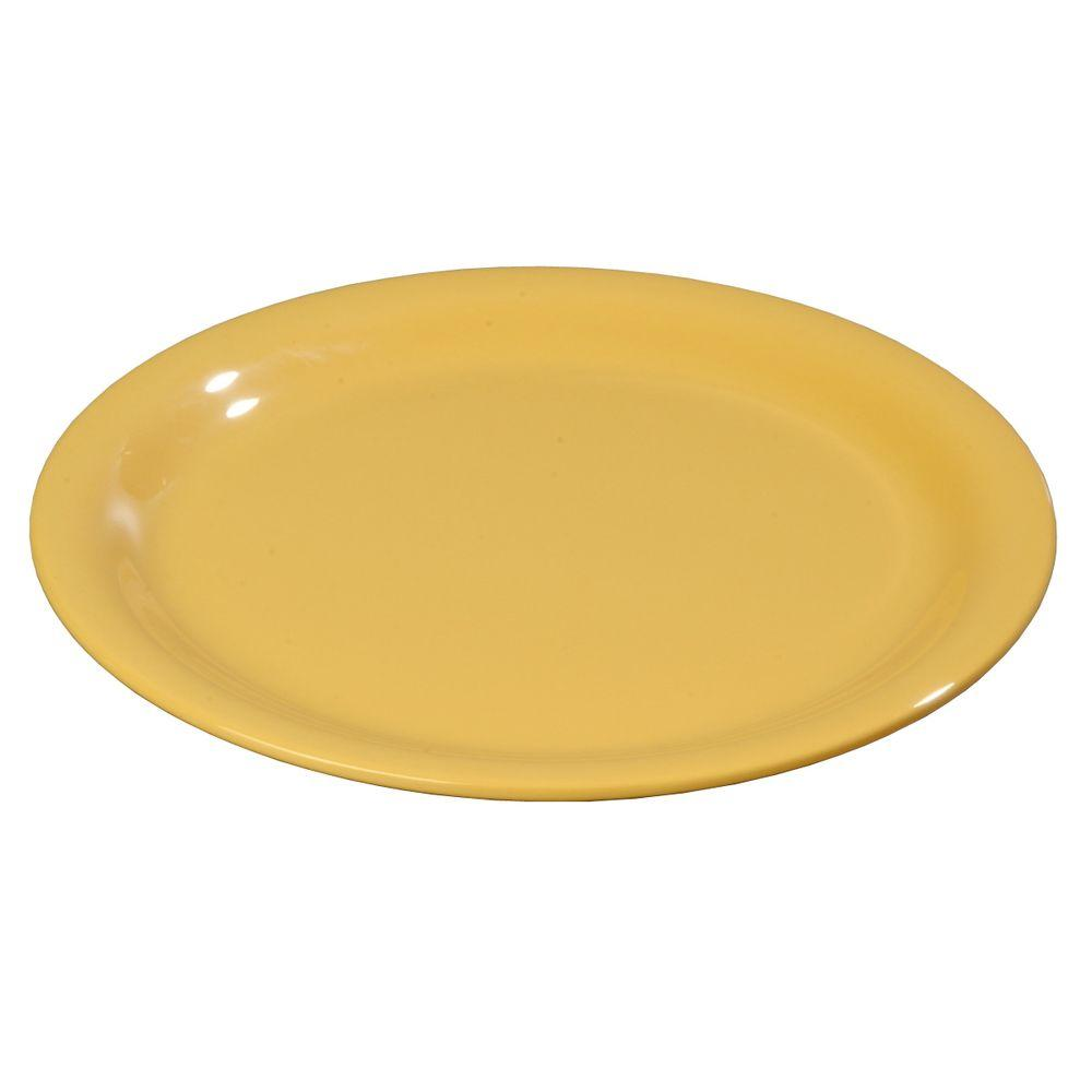9 in. Diameter Melamine Narrow Rim Dinner Plate in Bone (Case