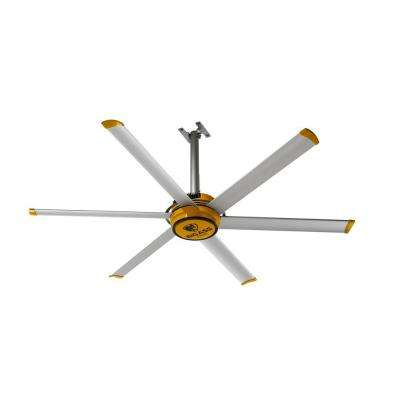 2025 7 ft. Indoor Yellow and Silver Aluminum Shop Ceiling Fan with Wall Control