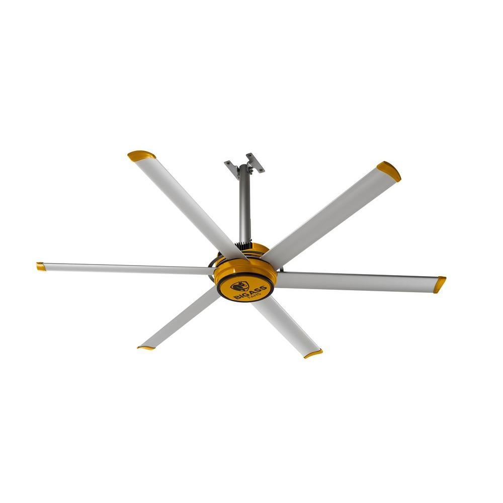 2025 7 ft. Indoor Yellow and Silver Aluminum Shop Ceiling Fan