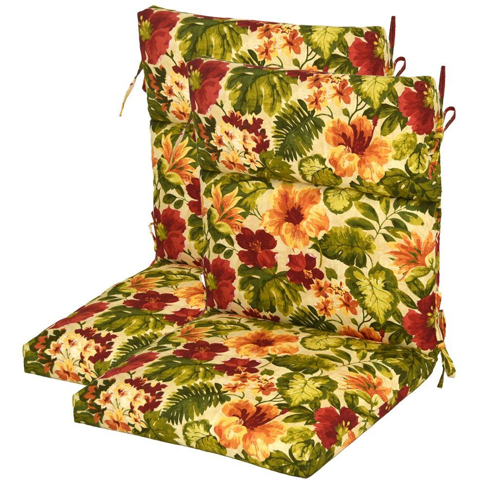 Plantation Patterns Santorini Floral High Back Outdoor Chair Cushion (2-Pack)-DISCONTINUED