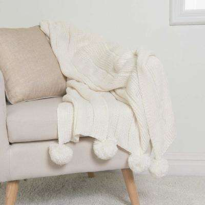 Knitted Pom Pom Ivory Acrylic Throw