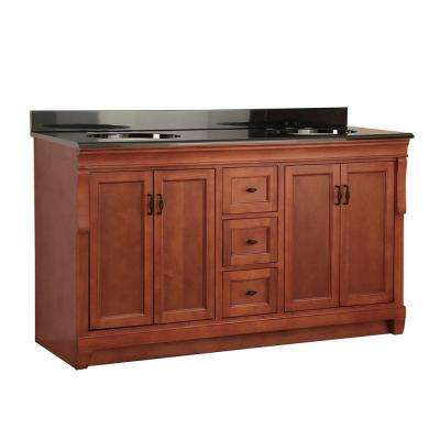 Naples 61 in. W x 22 in. D Vanity in Warm Cinnamon with Colorpoint Vanity Top in Black with Double Sink Sinks
