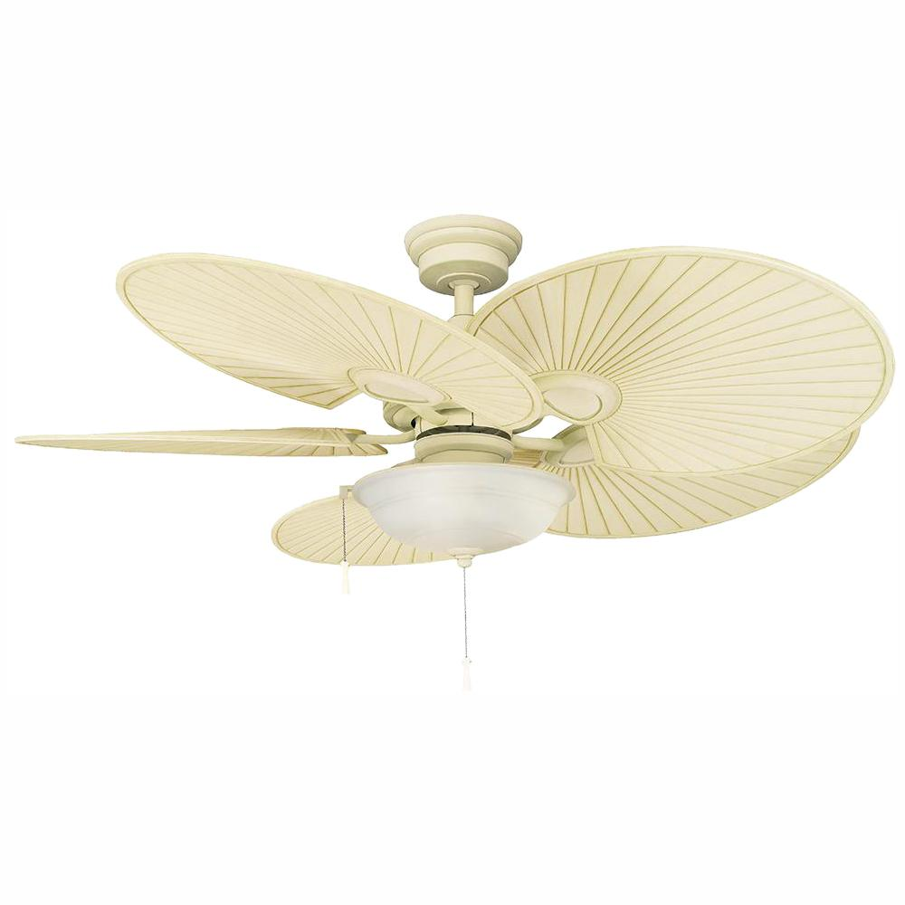 Hampton Bay Havana 48 in. LED Vintage White Ceiling Fan with Light Kit