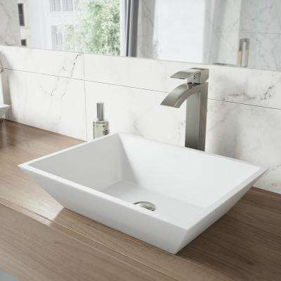 Vinca Matte Stone Vessel Bathroom Sink in White with Duris Vessel Faucet in Brushed Nickel