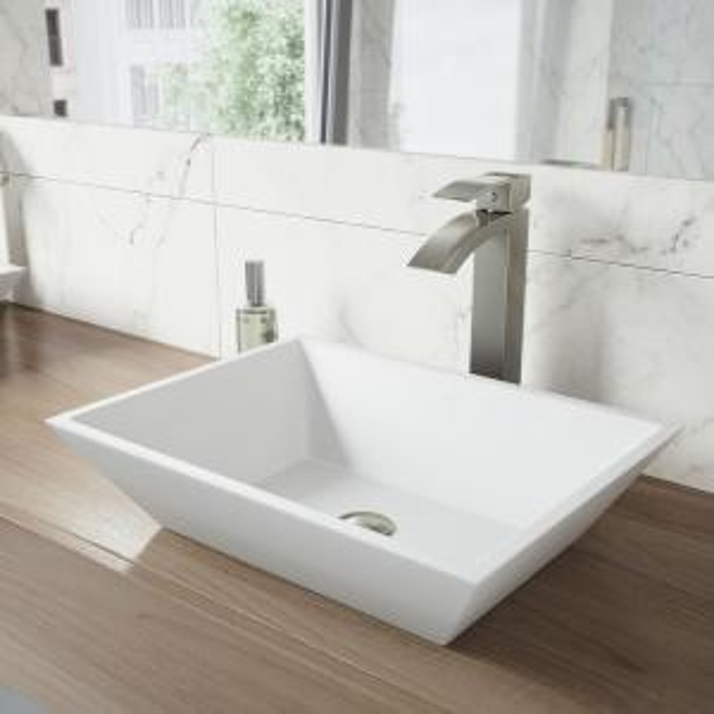 VIGO Vinca Matte Stone Vessel Sink in White with Duris Vessel Faucet in Brushed Nickel by VIGO