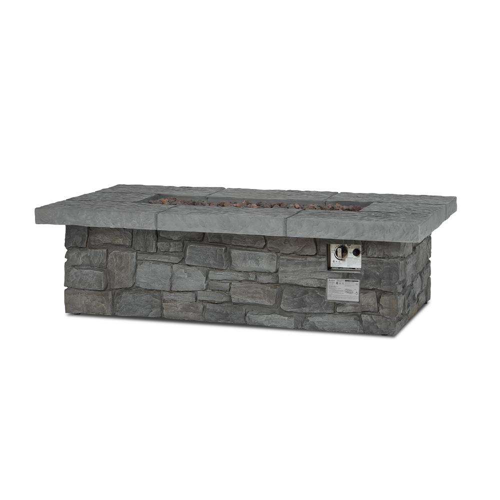Real Flame Sedona 52 in. x 15 in. Rectangle Cast Concrete Propane Fire Pit in Gray with Natural Gas Conversion Kit