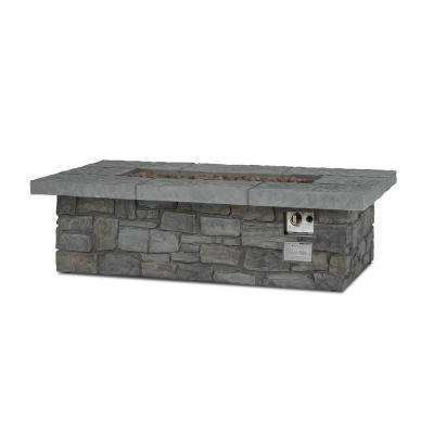 Sedona 52 in. x 15 in. Rectangle Cast Concrete Propane Fire Pit in Gray with Natural Gas Conversion Kit