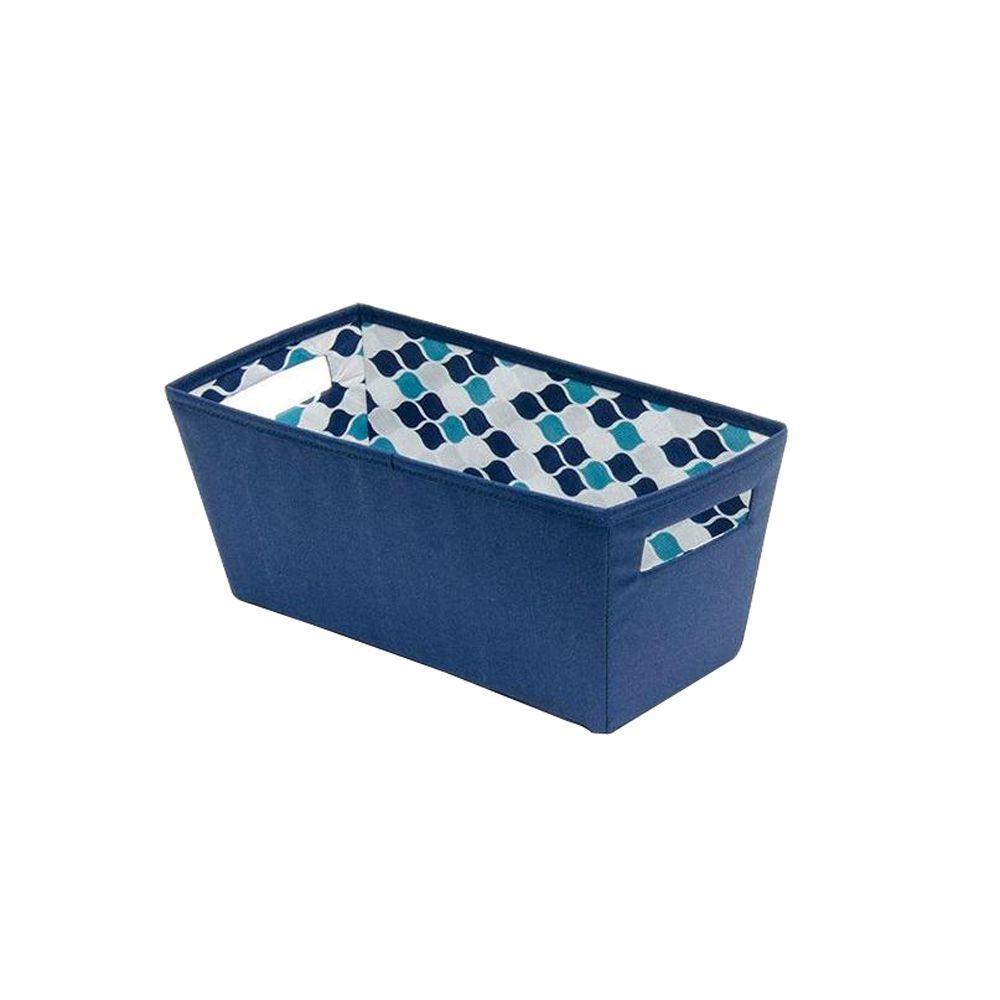 6.5 in. x 5.8 in. x 13.3 in. Decorative Fabric Quarter Storage Bin in Insignia Blue (4-Pack)