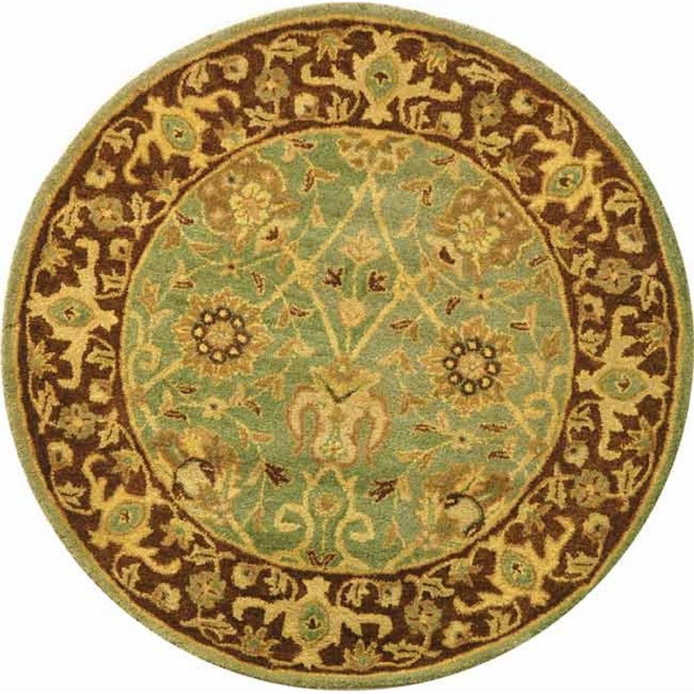 Safavieh Antiquity Green Brown 4 Ft X 4 Ft Round Area