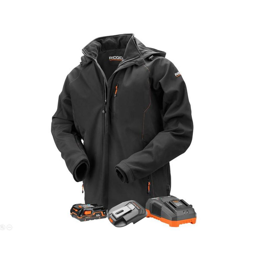 RIDGID Men's 3X-Large Black 18-Volt Lithium-Ion Cordless Heated Jacket with (1) 1.5 Ah Battery and Charger