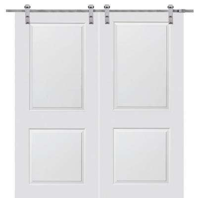 72 in. x 84 in. Smooth Carrara Primed Molded MDF Barn Door with Stainless Steel Sliding Door Hardware Kit
