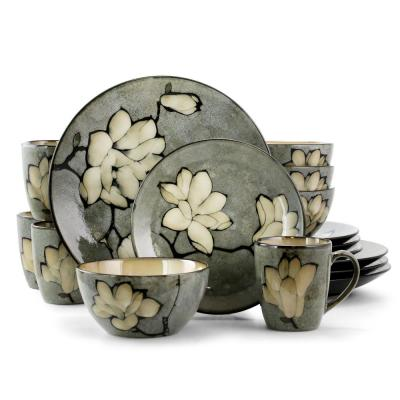 Dakari 16-Piece Grey Stoneware Dinnerware Set