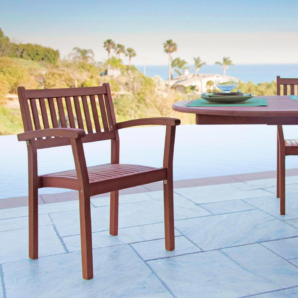 Vifah Malibu Stacking Wood Outdoor Dining Chair (2 Pack)