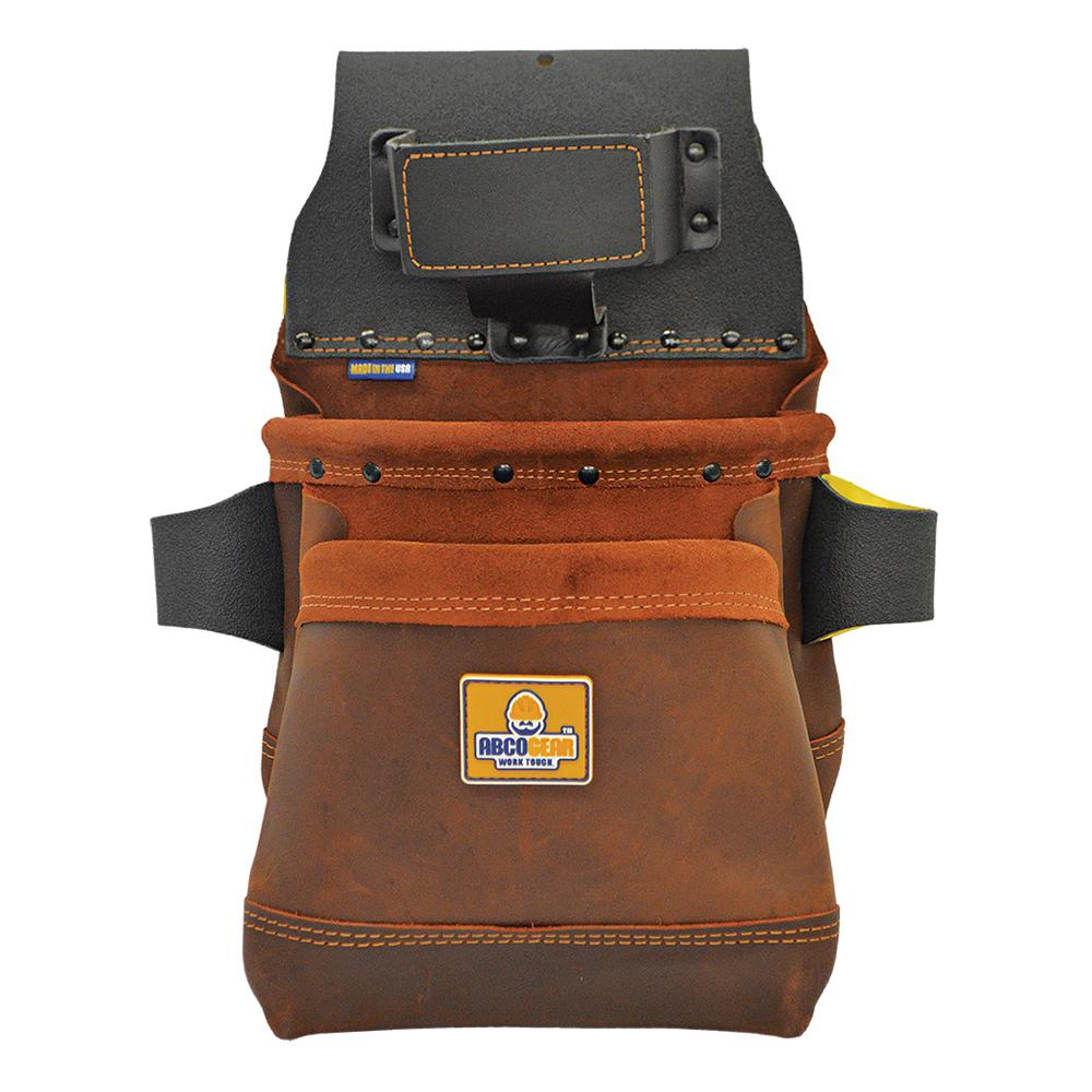 ABCOGEAR 14 in. 2-Pocket Elite Series Leather Tool Pouch in Brown