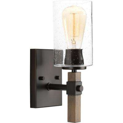 Barnes Mill Collection 1-Light Antique Bronze Bath Sconce with Seeded Glass Shade