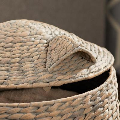 Grey and Brown Owl Water Hyacinth Woven Decorative Basket with Lid