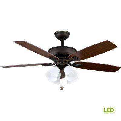 Devron 52 in. LED Indoor Oil-Rubbed Bronze Ceiling Fan with Light Kit