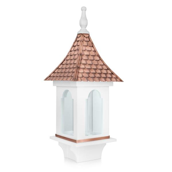 Villa Large White Bird Feeder with Pure Copper Roof, 4 lbs. Seed Capacity