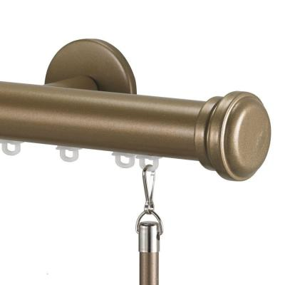 Tekno 25 Decorative 84 in. Traverse Rod in Champagne with Empire Finial
