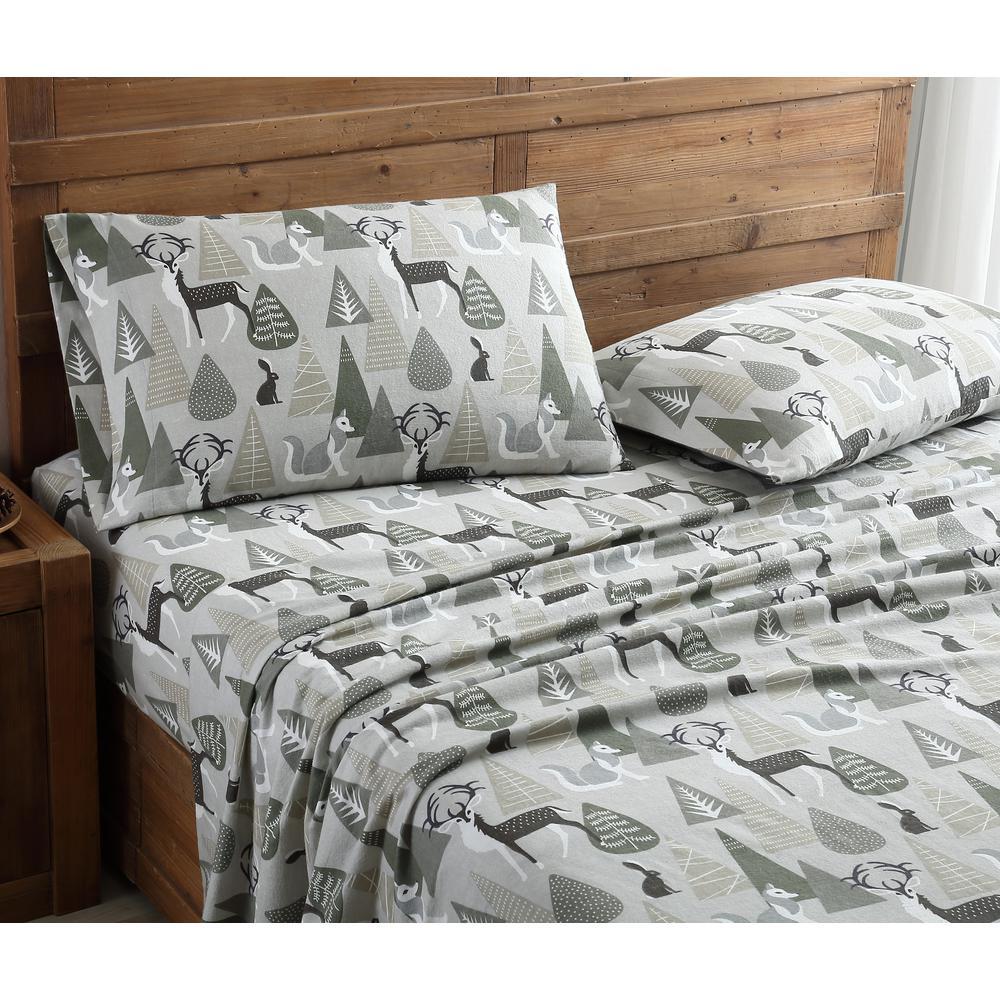 Morgan Home Geraldine 100% Cotton Green/Brown Flannel King Sheet Set