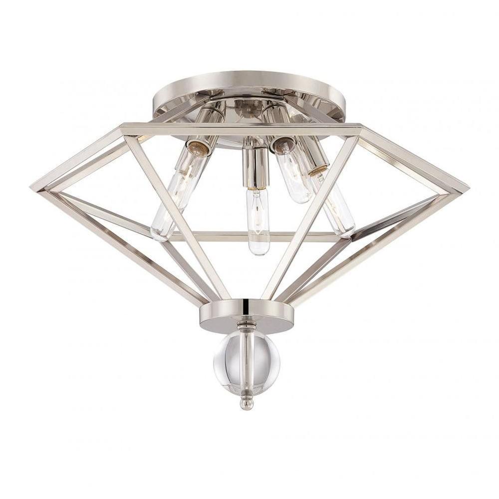 Merione 5-Light Polished Nickel Flush Mount