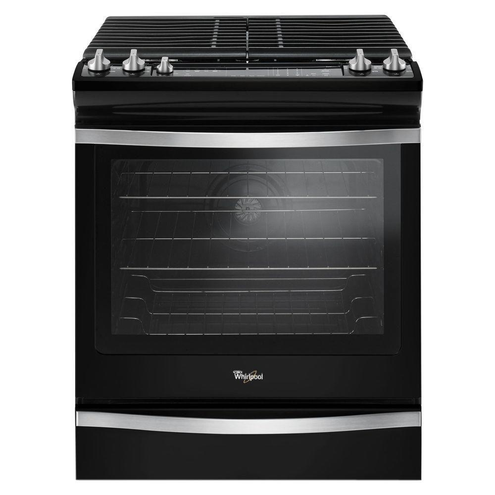 Whirlpool 58 cu ft SlideIn Gas Range with Center Oval Burner in