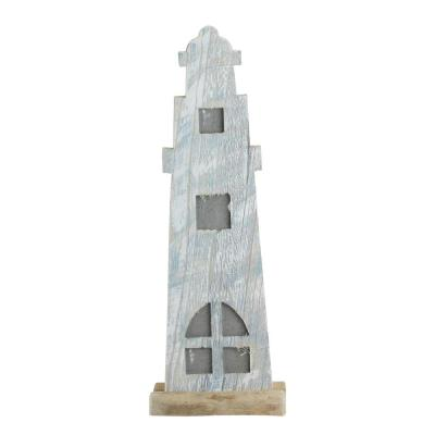 19 in. Distressed White and Blue Nautical Lighthouse Tabletop Decoration