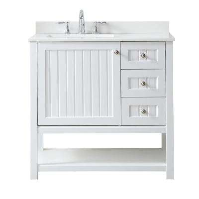 Seal Harbor 36 in. W x 22 in. D Vanity in White with Quartz Vanity Top in Pure White with White Basin