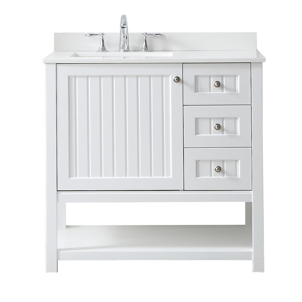 Martha Stewart Living Vanity White Quartz Vanity Top Pure White Basin