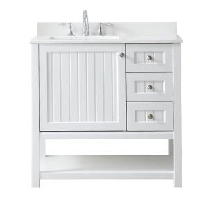 Martha stewart living seal harbor 36 in w x 22 in d vanity in white with quartz vanity top in Martha stewart bathroom collection