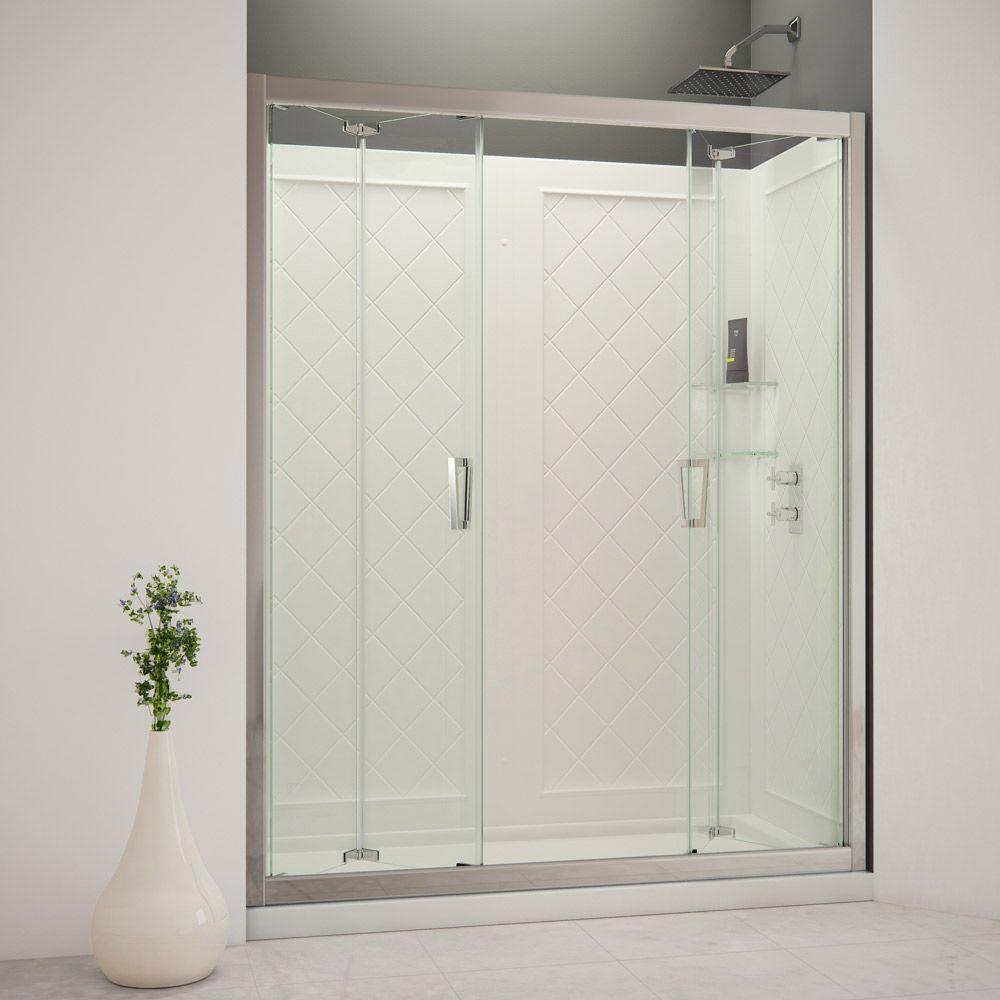 DreamLine Butterfly 60 in. x 76-3/4 in. Bi-Fold Trackless Shower Door in Chrome with Shower Base and Back Wall Kit