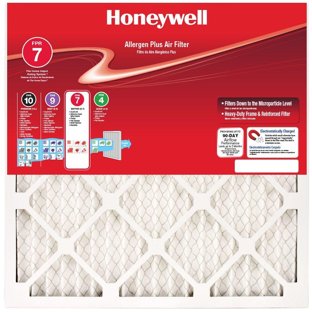Honeywell 12-1/2 in. x 24-1/4 in. x 1 in. Allergen Plus Pleated FPR 7 Air Filter