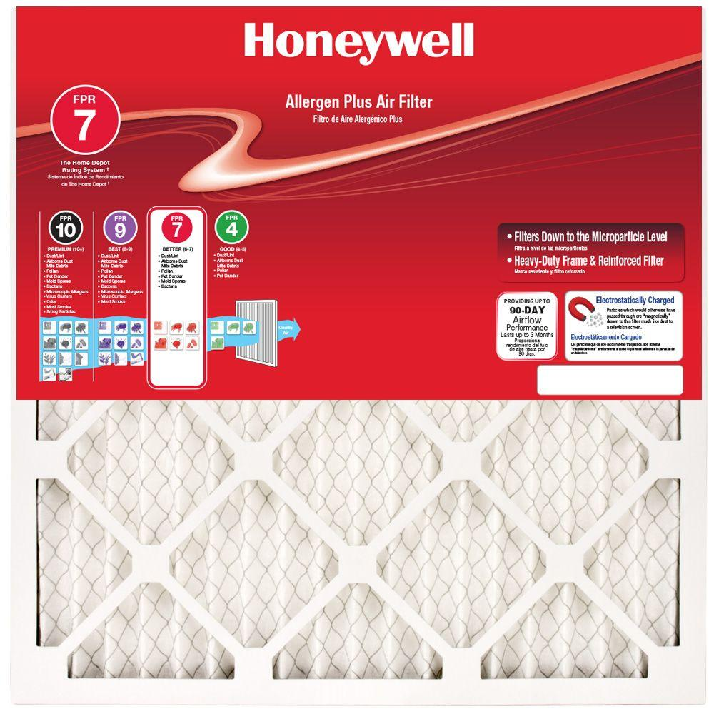 Honeywell 17-1/8 in. x 17-1/8 in. x 1 in. Allergen Plus Pleated FPR 7 Air  Filter-90701I011712517 - The Home Depot