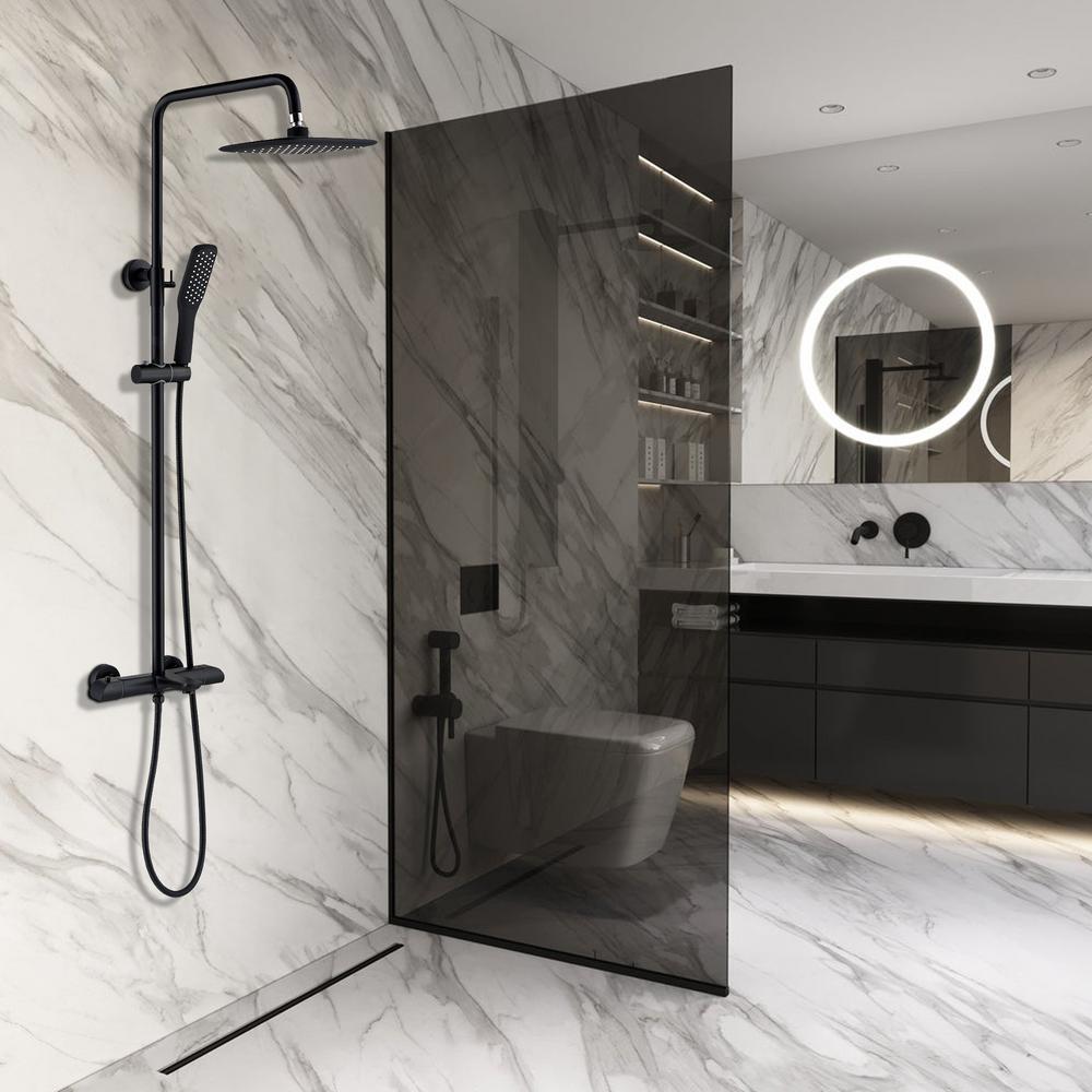 Modern Wall Bar Shower Kit 1-Spray 10 in. Square Rain Shower Head with Hand Shower in Matt Black (Valve Included)