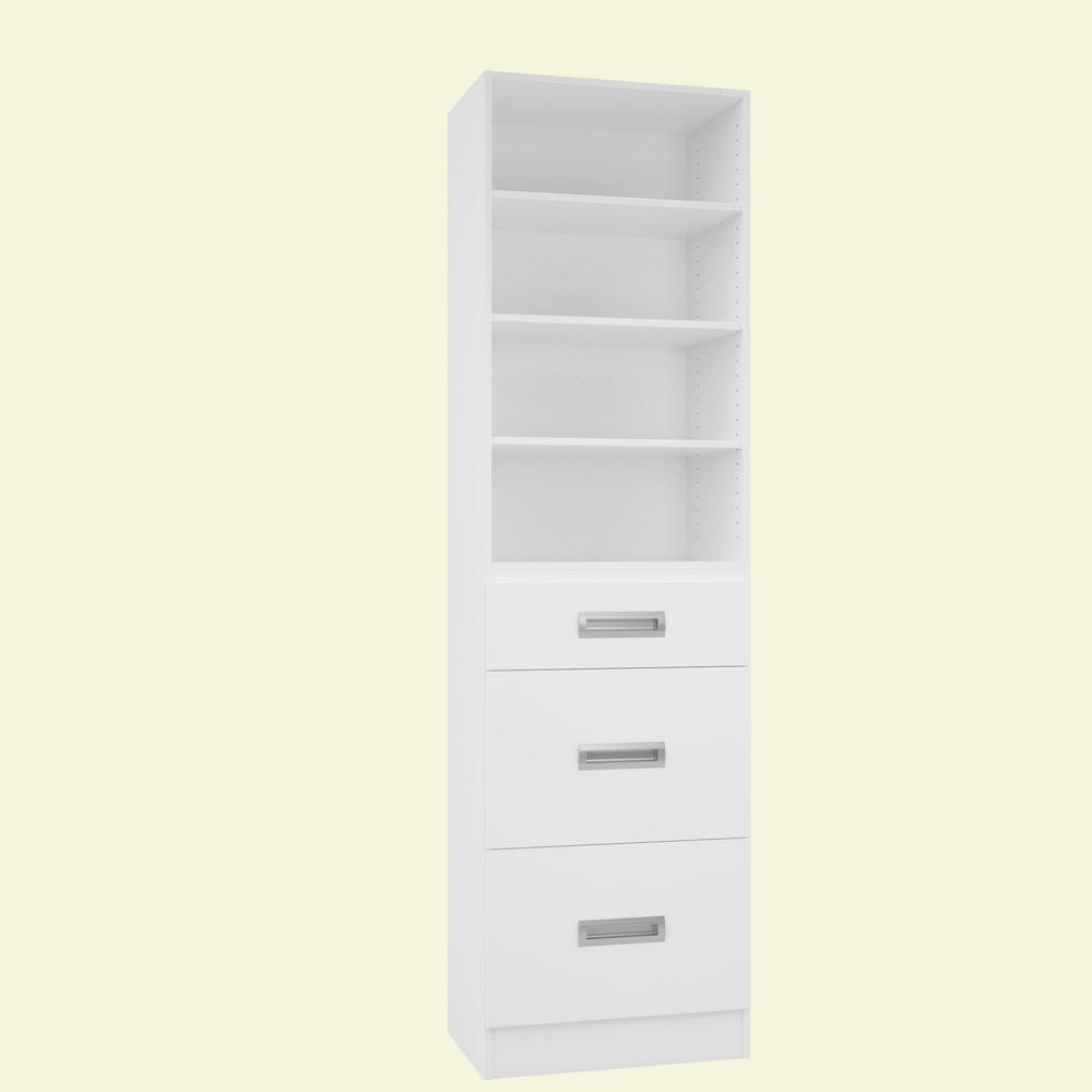 Home Decorators Collection 15 in. D x 24 in. W x 84 in. H Firenze Bianco Melamine with 4-Shelves and 3-Drawers Closet System Kit