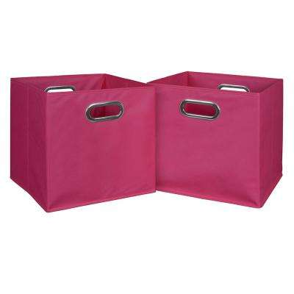 Cubo 12 in. x 12 in. Pink Foldable Fabric Bin (2-Pack)